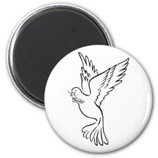 K - Paloma de la paz Imán Redondo 5 Cm