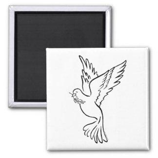 K - Paloma de la paz Imán Cuadrado