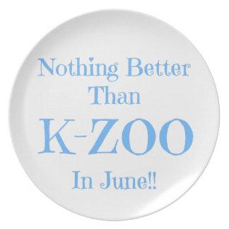 K-Parque zoológico azul Plato De Comida