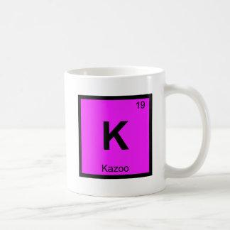 K - Símbolo de la tabla periódica de la química de Taza Básica Blanca