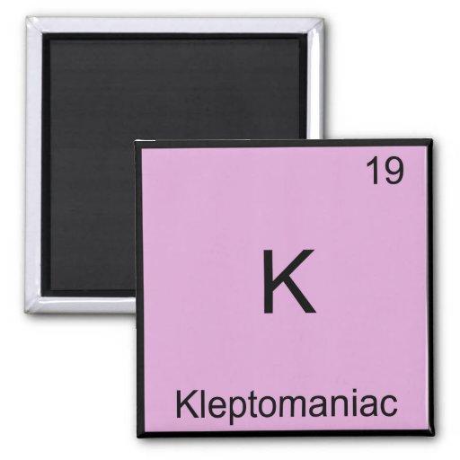 K - Símbolo divertido del elemento de la química e Imanes De Nevera
