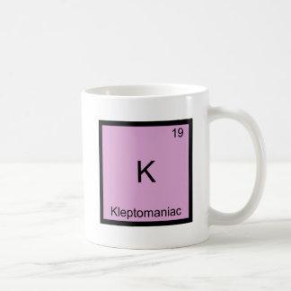 K - Símbolo divertido del elemento de la química Taza De Café