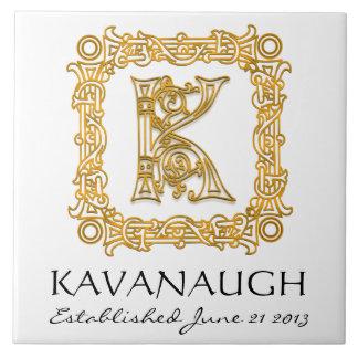 """K"" Surname Wedding Anniversary Day Monogram Tile"