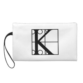 K- Typography Initial Wristlet Purse