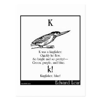 K was a kingfisher postcard