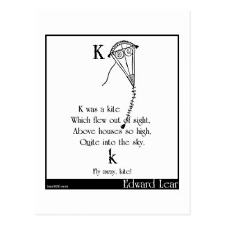 K was a kite postcard