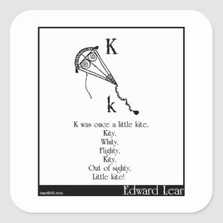 K was once a little kite square sticker