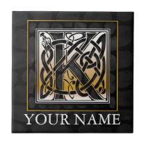 "K ""Your Name"" Celtic Black Stone Monogram Tile"
