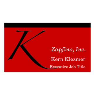 K - Zapfino Initial on Red Business Cards