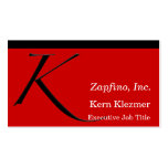 K - Zapfino Initial on Red Double-Sided Standard Business Cards (Pack Of 100)