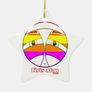KA Face 2  Rainbow Ceramic Ornament