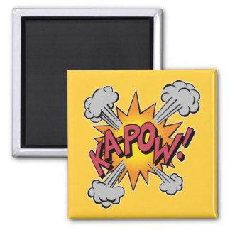 Ka Pow! Cartoon 2 Inch Square Magnet