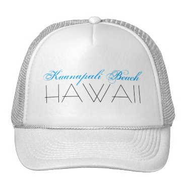 Beach Themed Kaanapali Beach, HAWAII Blue and Black Trucker Hat