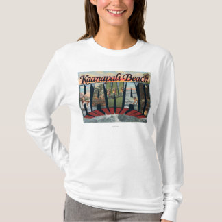 Kaanapali Beach, Hawaii - Large Letter Scenes T-Shirt