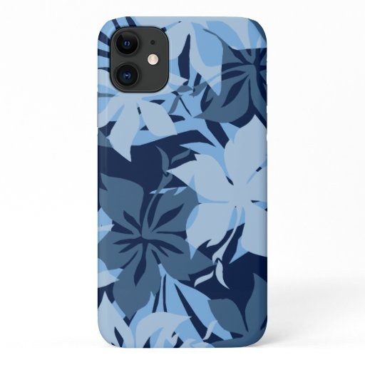 Kaanapali Camo Hawaiian Hibiscus Blue iPhone 11 Case