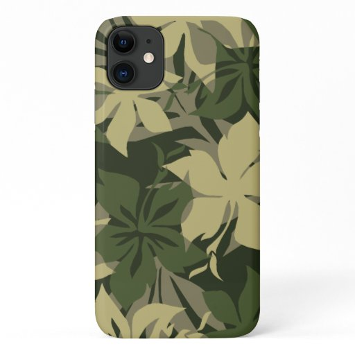 Kaanapali Camo Hawaiian Hibiscus Khaki iPhone 11 Case