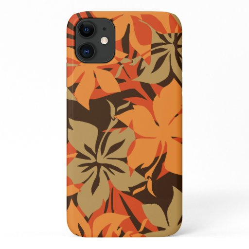 Kaanapali Camo Hawaiian Hibiscus Orange iPhone 11 Case