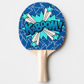 Kaboom Comic Book Style Blue Ping Pong Paddle