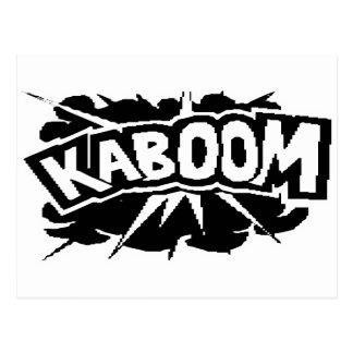 ¡KABOOM retro Ráfaga - negro y blanco Tarjeta Postal