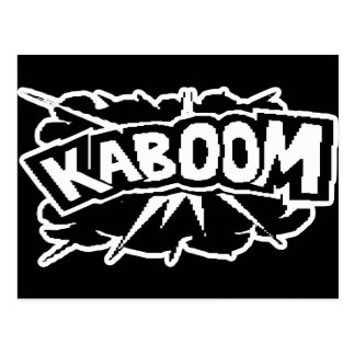 ¡KABOOM retro! Ráfaga - negro y blanco Tarjeta Postal