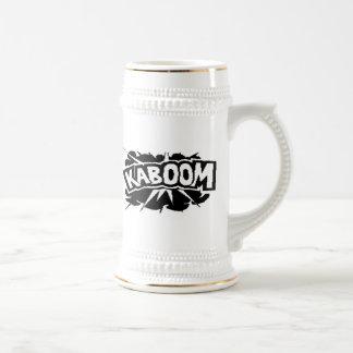¡KABOOM retro Ráfaga - negro y blanco Taza De Café