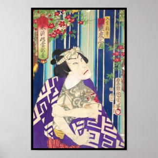 Kabuki Actor Portrait Waterfall Toyohara Kunichika Poster