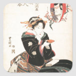 Kabuki Actor Reflected in a Sake Cup Square Sticker