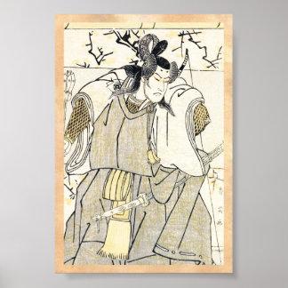 Kabuki Actor Samurai with Katana and Bow Shunsho Posters