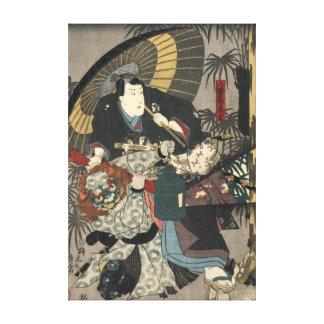 Kabuki Actors Triptych 1847 Left Canvas Prints
