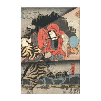 Kabuki Actors Triptych 1847 Middle Canvas Print