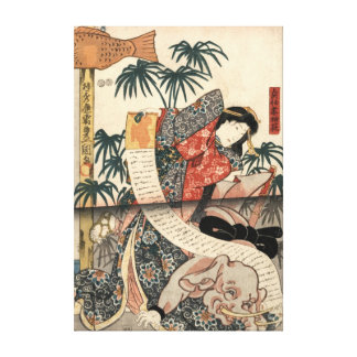 Kabuki Actors Triptych 1847 Right Stretched Canvas Print