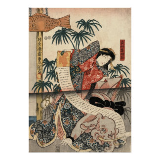 Kabuki Actors Triptych 1847 Right Poster