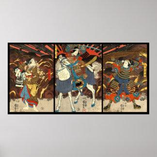 Kabuki Actors Triptych 1848 Poster
