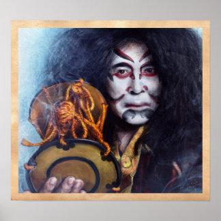 Kabuki Drummer japanese oriental portrait painting Poster