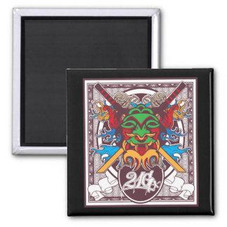 Kabuki Mask 2 Inch Square Magnet