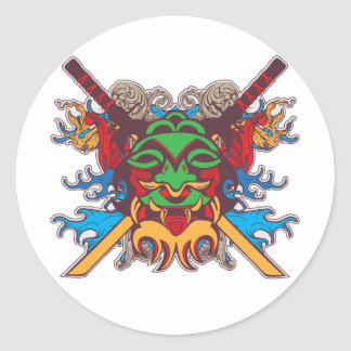 Kabuki Mask Classic Round Sticker