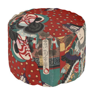 Kabuki Samurai Warriors Woodblock Pouf