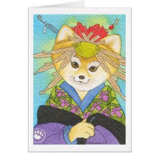 Kabuki Shiba Inu magnet Greeting Card