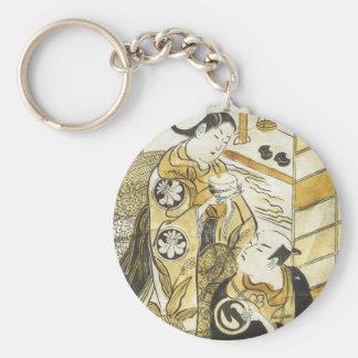 Kabuki Torii School 1730 Art Prints Basic Round Button Keychain