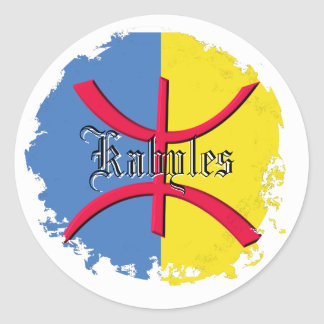 Kabylia flag  Distressed Round Stickers