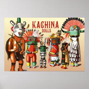 Arvier Hopi Kachina Doll Southwestern Decor Native American Art Mid Century Modern Art Print American Indian Wall Art Rustic Western Decor