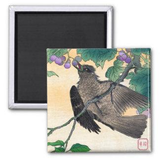 Kachōga - pájaro y flores imán cuadrado