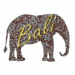 """Kade Batik Elephant Magnet<br><div class=""""desc"""">Photo sculpture magnet of a batik brown and blue dotted elephant with """"Bali"""" printed across it in gold script. Stick this magnet on your refrigerator for a small Bali Retreat party prop or give as a party favor. See the entire Bali Retreat Magnet collection in the SPECIAL TOUCHES 