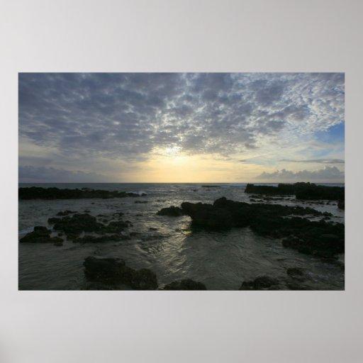 kaena point sunset oahu poster