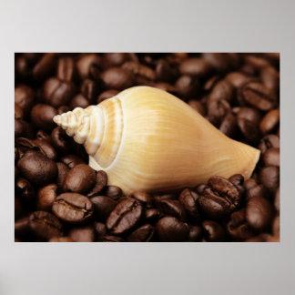Kaffeebohnen caracol representación de cocina impresiones