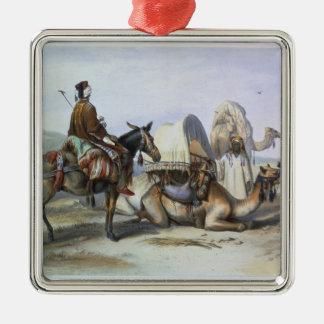 Kafila with a Camel Bearing a Hodesh, illustration Metal Ornament