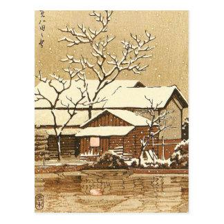 Kaga in Snow oriental japanese winter scenery Post Card