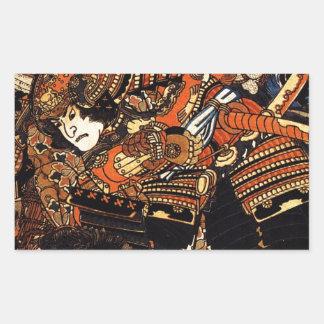 Kagehisa and Yoshitada wrestling Utagawa Kuniyoshi Rectangular Sticker