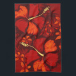 "Kahala Hibiscus Hawaiian Tropical Kitchen Towel<br><div class=""desc"">Tropical hibiscus flowers sketched with pastels on top of organic lava created this vintage inspired tropical print. These designs come in several colorways.</div>"