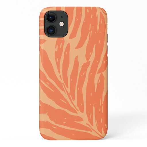 Kahanu Garden Hawaiian Palm Leaves Orange iPhone 11 Case